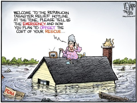 Christopher Weyant - The Hill - GOP Disaster Relief - English - GOP,Republican,disaster,relief,FEMA,Romney,government,Frankenstorm,super storm,Sandy,New Jersey,East Coast,hurricane,house,flood,New York,DC,Obama,Chris Christie,aid