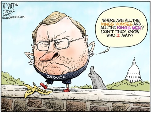 Christopher Weyant - The Hill - Grover Dumpty - English - Grover Norquist, Humpty Dumpty, wall, cliff, fiscal, Congress, deficit, budget, promise, fall, GOP, Republican, pledge, compromise, taxes, tax cuts