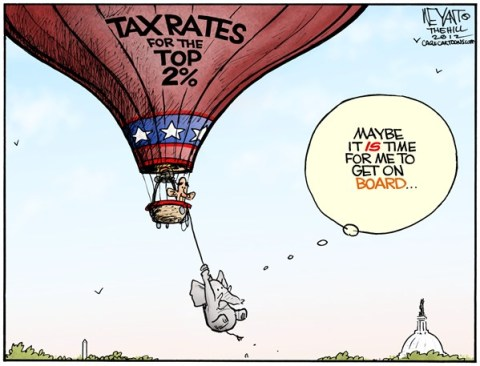 Christopher Weyant - The Hill - Going Up - English - balloon, tax reates, Bush tax cuts, increase, deficit, debt, Congress, Boehner, sequestration, elephant, Obama, entitlements, top, 2, rich, expire, Republicans, GOP