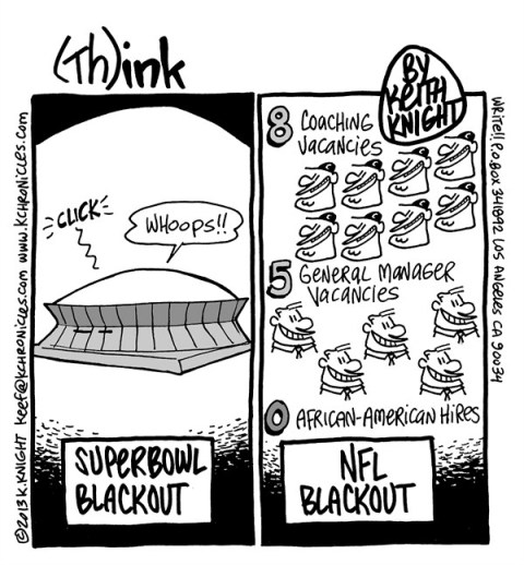 Keith Knight - PoliticalCartoons.com - Superbowl Blackout - English - superbowl, nfl, new orleans, superdome, blackout, african-american coaches, race,  black coaches, general managers