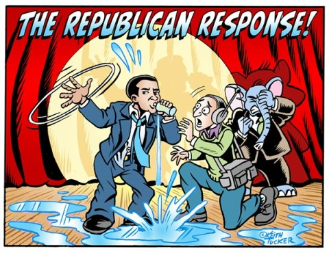 Keith Tucker - PoliticalCartoons.com - Rubio's Waterloo - English - Barack Obama , Marco Rubio, State of the Union,Obama Address, Republican Response, Rubio Speech, Marco Rubio Drinks Water, Marco Rubio Response, Marco Rubio Response, Marco Rubio Speech, Marco Rubio Water, Obama State Of The Union 2013, State Of The Union
