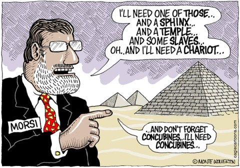 Wolverton - Cagle Cartoons - Pharaoh Morsi COLOR - English - Morsi,Egypt,Middle East,Pharaoh,Arab,Revolution,Mulsim Brotherhood,Islam,mohamad morsi