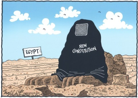 Bob Englehart - The Hartford Courant - Egypt's Constitution - English -