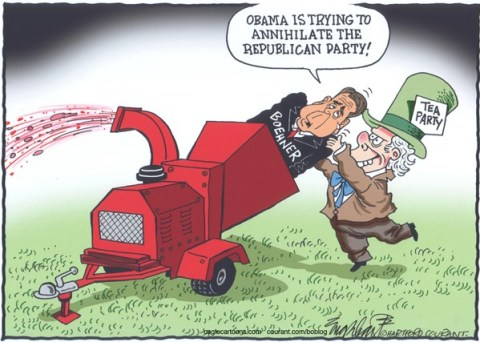 Bob Englehart - The Hartford Courant - John Boehner - English - annihilate the republican party,gop,republicans