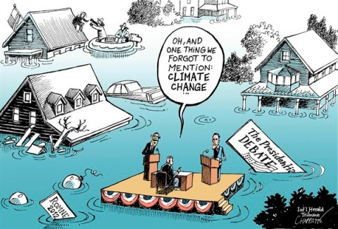 Patrick Chappatte - The International Herald Tribune - Talking about Sandy - English - USA, Climate, Presidential Election 2012, Obama, Romney, Natural Disaster, Global Warming, Environment, Hurricane, Weather, Climate, Sandy