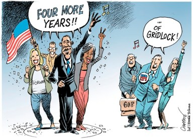 Patrick Chappatte - The International Herald Tribune - Obama re-elected - English - Obama,Romney,USA,Presidential Election 2012,Republicans,Democrats,Parliament,Congress
