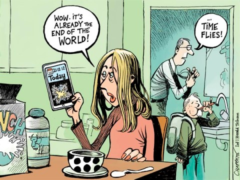 Patrick Chappatte - The International Herald Tribune - END OF THE WORLD  - English - End of the World, Maya Calendar, History, Family