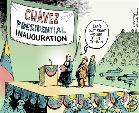 Patrick Chappatte - The International Herald Tribune - Chávez is missing - English - Venezuela, Central America, Chavez, Presidential Election, Democracy, Health