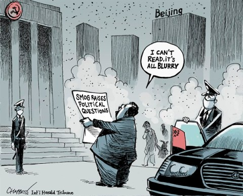 Patrick Chappatte - The International Herald Tribune - Smog in Beijing - English - China, Pollution, Environment, Power, Communism, Media