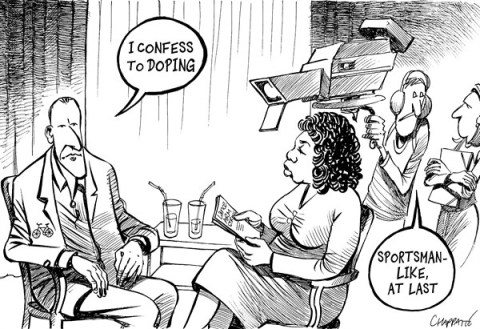 Patrick Chappatte - Le Temps, Switzerland - Lance Armstrong confesses to Oprah - English - Armstrong, Oprah, Media, Television, Sports, Cycling, Health, Doping, Drugs, Scandal