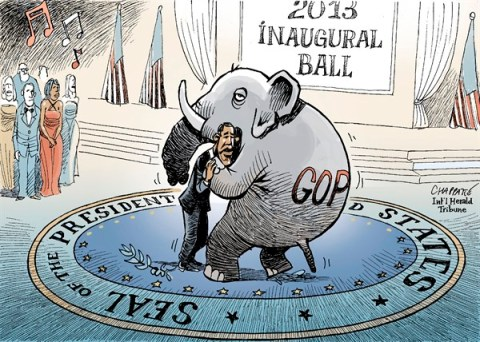 Patrick Chappatte - The International Herald Tribune - INAUGURAL BALL - English - Obama, USA, Presidential Election 2012, Republicans, GOP, Parliament, Congress, Dance