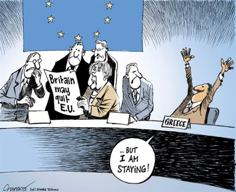 Patrick Chappatte - The International Herald Tribune - Britain might leave the European Union - English - Crisis, Economy, European Union, Germany, Great Britain, Greece, Merkel, Summit, United Kingdom