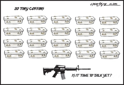 J.D. Crowe - Mobile Register - 20 tiny coffins - English - Newtown shootings, Connecticut school shootings, guns