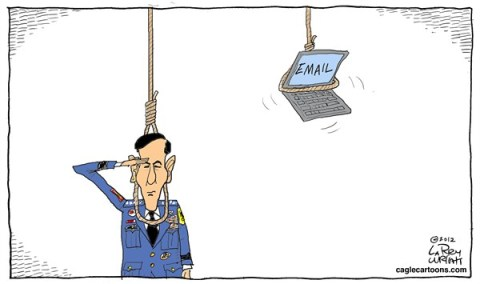 Larry Wright - CagleCartoons.com - Death by Email - English - sex scandal; CIA Director,David Petraeus,petraeus resigns