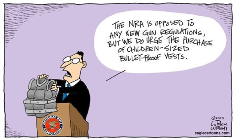 Larry Wright - CagleCartoons.com - COLOR Kids Vests - English - NRA, gun regulations, bullet-proof vests