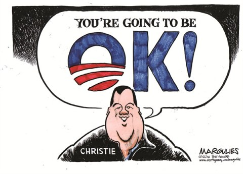 Jimmy Margulies - The Record of Hackensack, NJ - Christie and Obama color - English - Christie and Obama, Hurricane politics, Hurricane relief, 2012 campaign, Chris Christie, Governor Christie