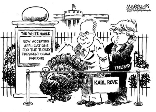 Jimmy Margulies - The Record of Hackensack, NJ - White House Turkey Pardon - English - Donald Trump, Karl Rove, White House Turkey Pardon, Thanksgiving, 2012 election, SuperPACs