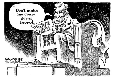 Jimmy Margulies - The Record of Hackensack, NJ - Petitions to secede from US - English - Petitions to secede from US, New secession movement, Civil War, Lincoln, Abe Lincoln, President Lincoln, 2012 election, Anti-Obama sentiment, Obama re-election