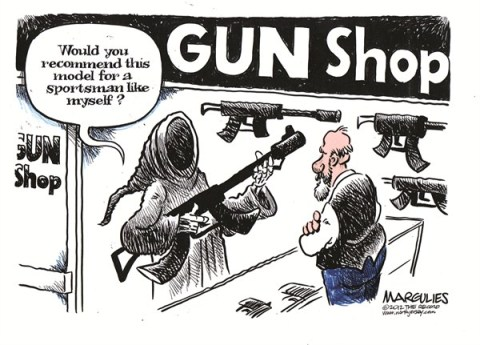 Jimmy Margulies - The Record of Hackensack, NJ - Assault weapons color - English - Assault weapons, guns, gun control, Sandy Hook elementary school shootings, gun violence
