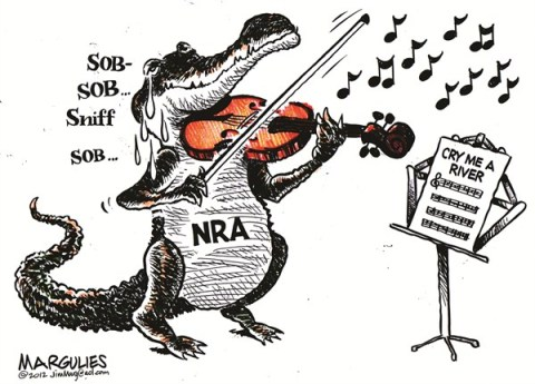 Jimmy Margulies - The Record of Hackensack, NJ - NRA responds color - English - NRA, Wayne LaPierre, Guns, gun control, assault weapons, Sandy Hook Elementary school massacre, Gun lobby