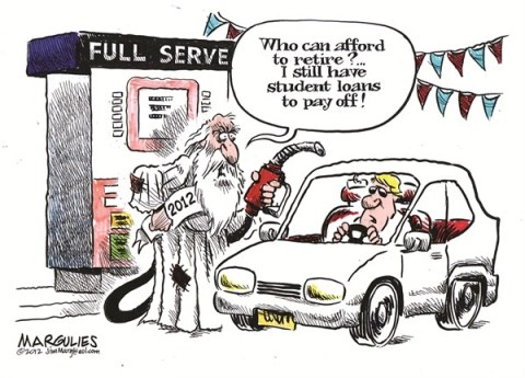 Jimmy Margulies - The Record of Hackensack, NJ - Father Time 2012 color - English - Father Time 2012, Student loans, Student loan debt, Retirement, Retirees, Older workers