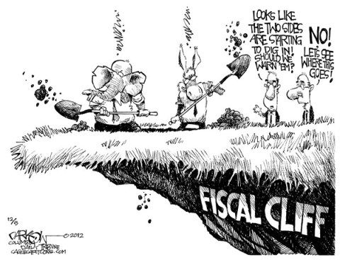 John Darkow - Columbia Daily Tribune, Missouri - Digging in the Fiscal Cliff - English - Dig, Fiscal, Cliff, Republican, Democrat, Government, Politics, Warn, Fall, Money, 2012, Deadline