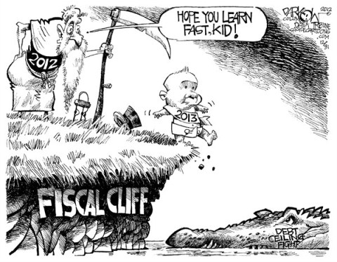 John Darkow - Columbia Daily Tribune, Missouri - Good Luck New Year - English - Good, Luck, Kid, Fast, Learn, 2013, Fiscal Cliff, Budget, Taxes, Government, Political, Debt, Ceiling, Fight, Alligator, Time, 2012