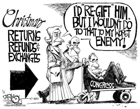 John Darkow - Columbia Daily Tribune, Missouri - Re-Gifting Congress - English - Gift, Congress, Enemy, Him, Worst, Christmas, Returns, Refunds, Exchange