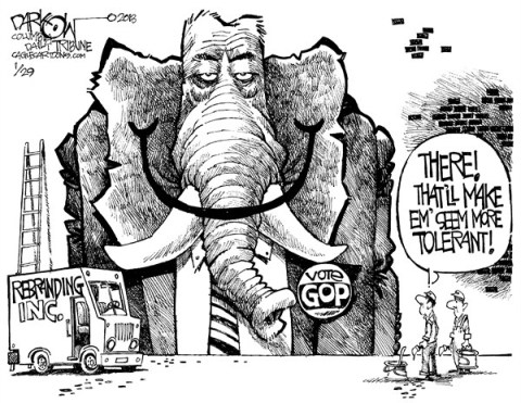 John Darkow - Columbia Daily Tribune, Missouri - GOP Reaches Out - English - GOP, Republican, Democrat, Vote, Tie, Dress, Disguise, Rebrand, Tolerant, Painter, Ladder, Redo, Politics, Government