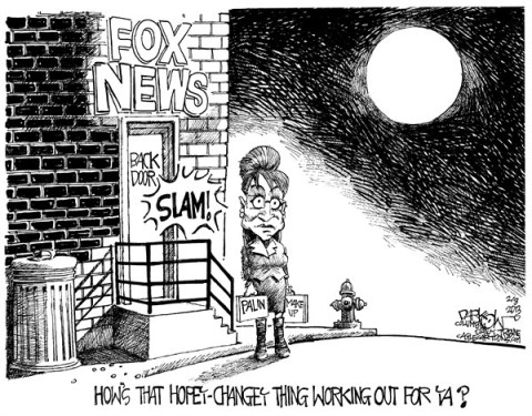 John Darkow - Columbia Daily Tribune, Missouri - Palins fifteen minutes - English - Fox, News, Sarah, Palin, Interview, career, contract, decline, over