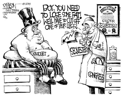 John Darkow - Columbia Daily Tribune, Missouri - Doctor of Sequestology - English - Sequestology, Doctor, Weight, Lose, Fat, Leg, Cut, Budget, Exam, Boy, Uncle Sam, Gut, Chart, Congress, Medical, Government, Political, Money