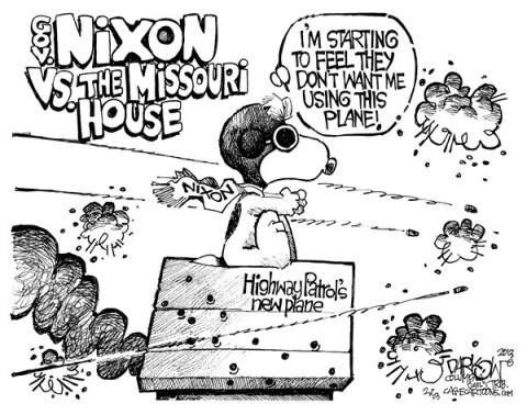 John Darkow - Columbia Daily Tribune, Missouri - Local Mo Dogfight - English - Highway, Patrol, New, airplane, plane, dog fight, governer, gov, Nixon, Missouri, House, Mo