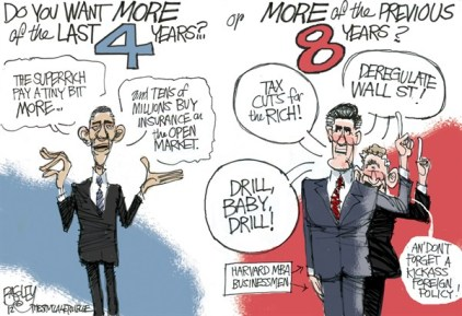 Pat Bagley - Salt Lake Tribune - Choice 2012 COLOR - English - 2008,2012,Romney,Bush,W,Barack,Obama,Election,Rich,Taxes,Campaign,Businessman,Iraq