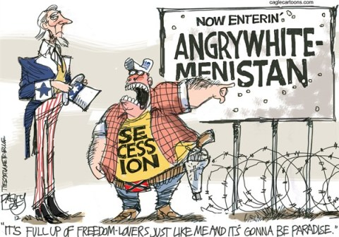 Pat Bagley - Salt Lake Tribune - Secessionist - English - Secession, Secessionist, GOP, Republicans, Tea Party, Election Texas, Alaska, Right Wing Wing Nuts, Extremists, Racists