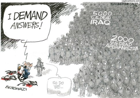 Pat Bagley - Salt Lake Tribune - Waving the Bloody Shirt - English - Benghazi, Libya, Iraq, Afghanistan, US Troops, Combat, Fatalities, War Dead, Ambassador Stevens, CIA, Contractors, Consulate, McCain, Rice, Obama, Lindsay Graham