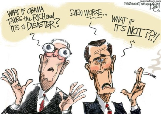 Pat Bagley - Salt Lake Tribune - Fiscal Cliff Notes - English - McConnell, Boehner, Fiscal Cliff, Taxes, Norquist, Grover, Rich, Wealthy, 2, Top Earners, Republicans, Trickle Down, Tax Rates, GOP