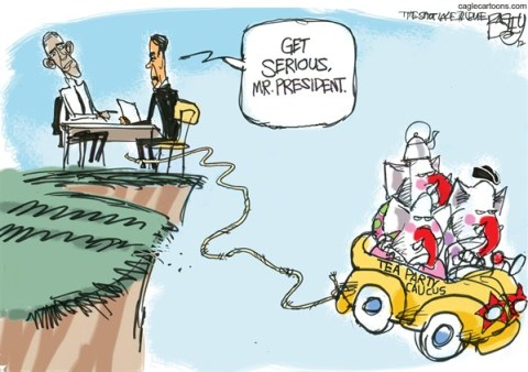 Pat Bagley - Salt Lake Tribune - Fiscal Clown Car - English - Clown Car, Fiscal Cliff, Boehner, Obama, Deficit, Budget, Social Security, taxes, GOP, Tea Party, Republicans, Chuckleheads, Clowns