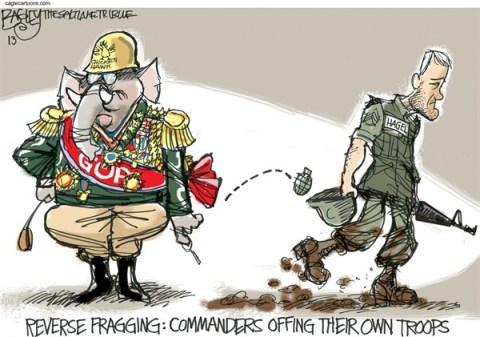 Pat Bagley - Salt Lake Tribune - Fragging Hagel - English - Frag, Fragging, GOP, Republicans, Neocon, Hagel, Secretary of Defense, Vietnam, Defense, Senate, Senators, Israel, Obama