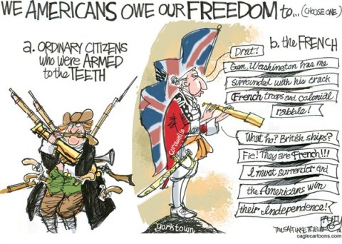 Pat Bagley - Salt Lake Tribune - Freedom Frogs - English - French, Cornwallis, 1776, Revolution, Guns, Bear Arms, Washington, Yorktown, NRA, 2nd Amendment