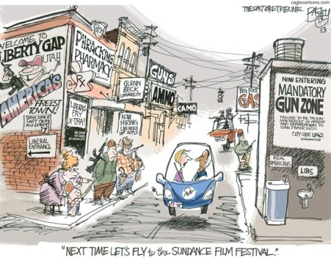 Pat Bagley - Salt Lake Tribune - Freedom Utah - English - Freedom, Guns, J C Penney, Concealed Carry, Open Carry, AR-15, Liberals, Jobs, Conservatives, GOP, Republican, Red State, Utah
