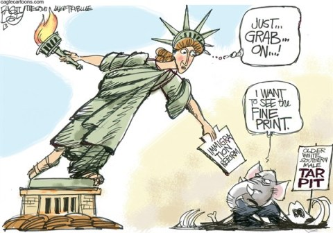 Pat Bagley - Salt Lake Tribune - Immigration Ingrate - English - GOP, Emigration, Reform, Republicans, Demographics, Latinos, Hispanics, Self Deport, Path to Citizenship, Obama, Liberty