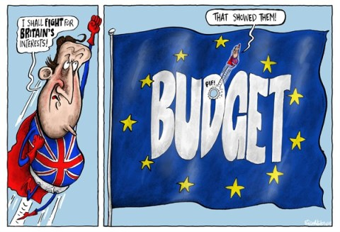 Brian Adcock - The Scotland - EU Budget And UK's Prime Minister - English - EU, budget, eu budget, eu flag, david cameron, Britain, uk, super hero, that showed them, cut in eu budget, conservatives, tories,