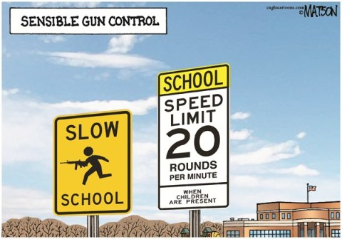 RJ Matson -  - Sensible Gun Control-COLOR - English - Sensible Gun Control, Guns, Children, Schools, School Shootings, Assault Weapons, RPM, Rounds Per Minute, Speed Limit