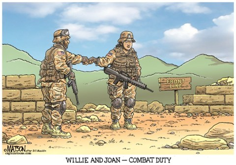 RJ Matson -  - Women in Combat-COLOR - English - Women in Combat, US Military, Army, War, Combat, Gender, Equality, Willie and Joe, Willie and Joan, Bill Mauldin