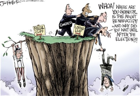 Joe Heller - Green Bay Press-Gazette - Petraeus Scandal - English - Petraeus Scandal, David, CIA, Spy, Central Intelligence agency, General, affair, adultry, resign, fiscal cliff, lovers leap
