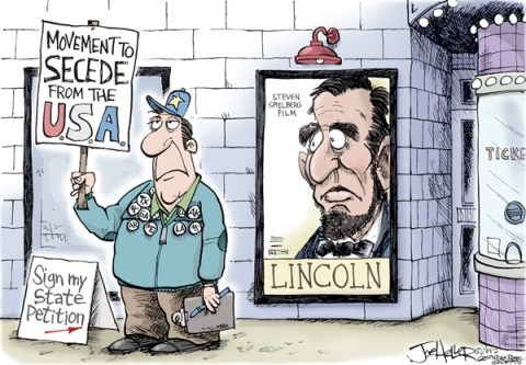 Joe Heller - Green Bay Press-Gazette - Lincoln - English - abe Lincoln, states rights, secede, Texas, petition, civil war, steven Spielberg, movie