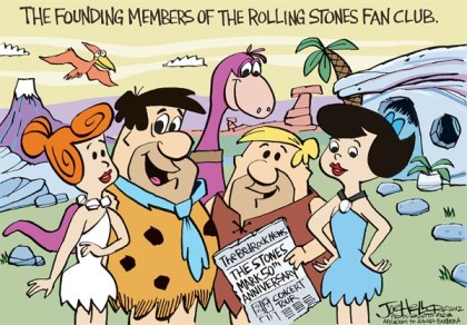 Joe Heller - Green Bay Press-Gazette - Rolling Stones @ 50 - English - Rolling Stones @ 50, flintstones, fan club, founding members, mick Jaeger, rock and roll, concerts, animated TV cartoon
