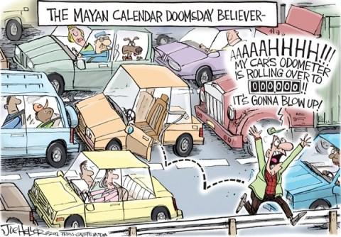 Joe Heller - Green Bay Press-Gazette - Mayan Calendar - English - Mayan Calendar, end of the world, odometer, car, vehicle rolling over, dec 21st, doomsayers