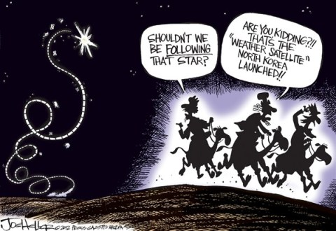 Joe Heller - Green Bay Press-Gazette - North Korea - English - North Korea, missile, nukes, weapons, wmd, weather satellite, three wise men, rocket