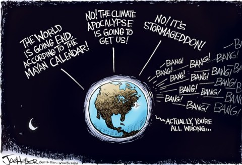 Joe Heller - Green Bay Press-Gazette - How it ends - English - how it ends, Newtown, mayan calendar, Climate, stromageddon, appcalyse, warming, global, shooting, nra, connecticut, end of world, sandy hook